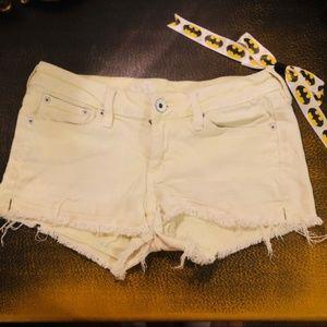 Bullhead Shorts - Neon Yellow High Waisted Cheeky Booty Denim Shorts